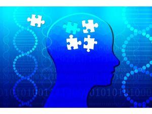 デジタルのイメージ画像:人型のシルエットとパズルのピース